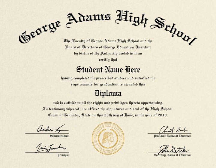 US High School Diploma Style 4 | Buy Diploma Online