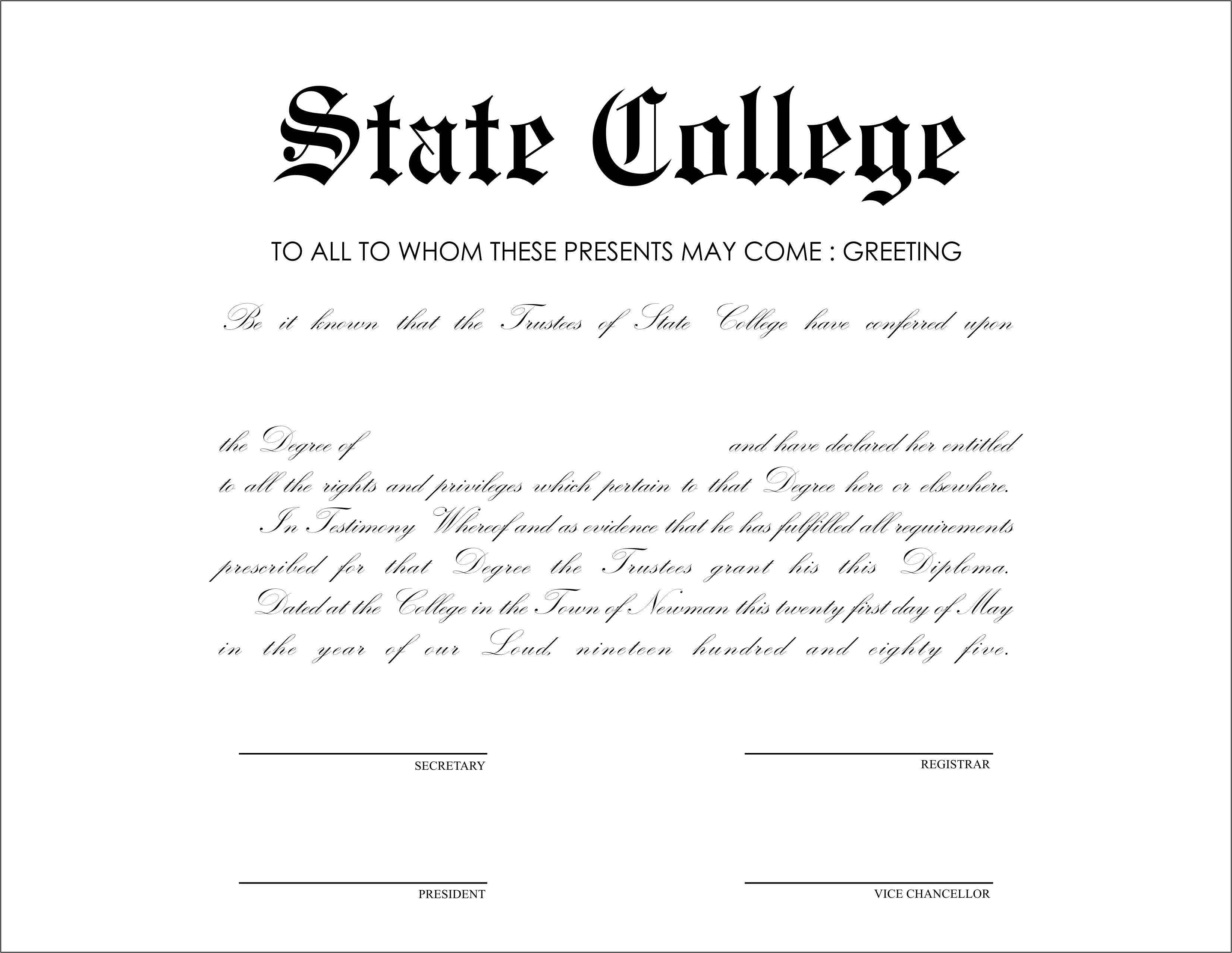 university degree template