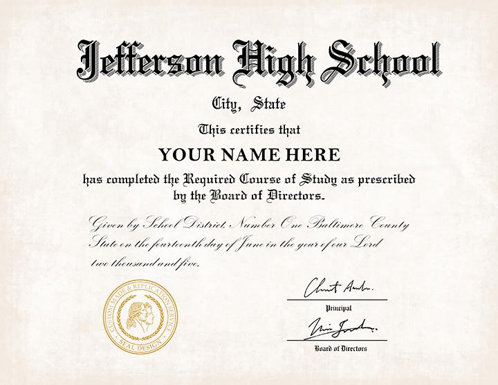 fake high school diploma template