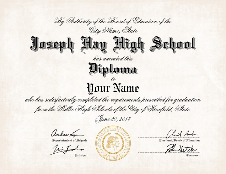 US High School Diploma Style 8 | Buy Diploma Online