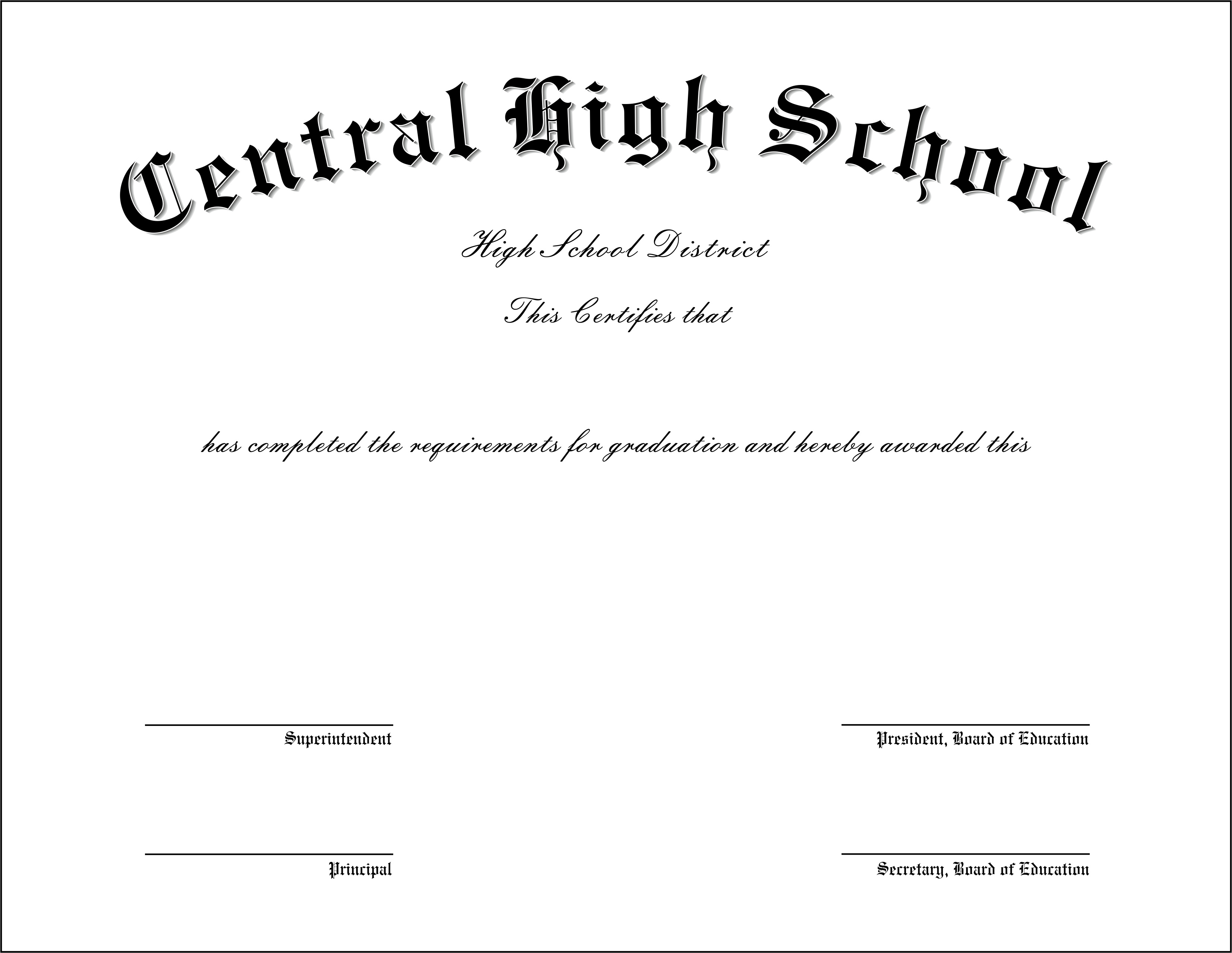 free fake high school diploma templates