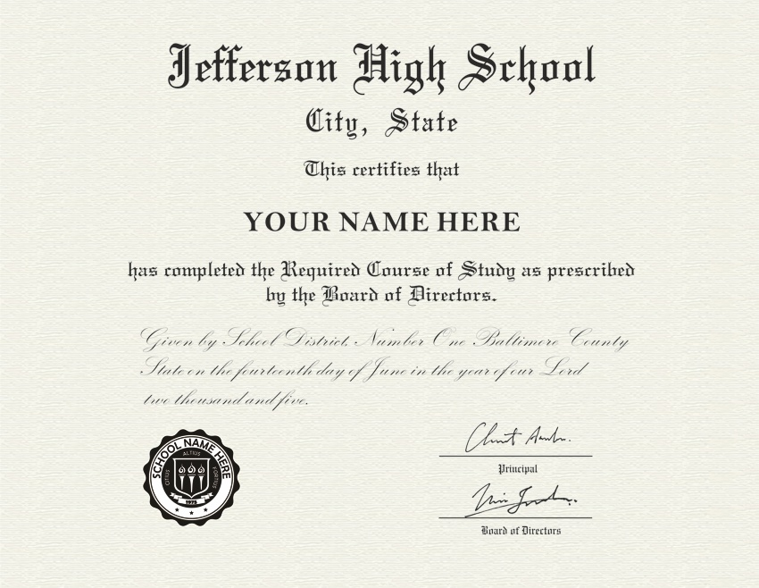 Fake high school diploma and transcript