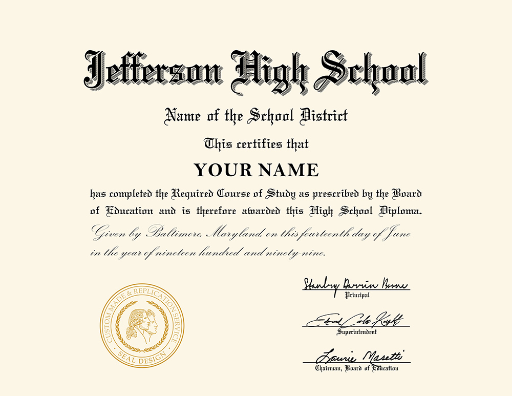 us high school diploma style 1