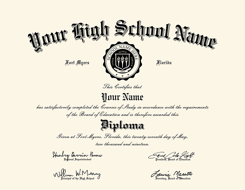 us high school diploma style 2