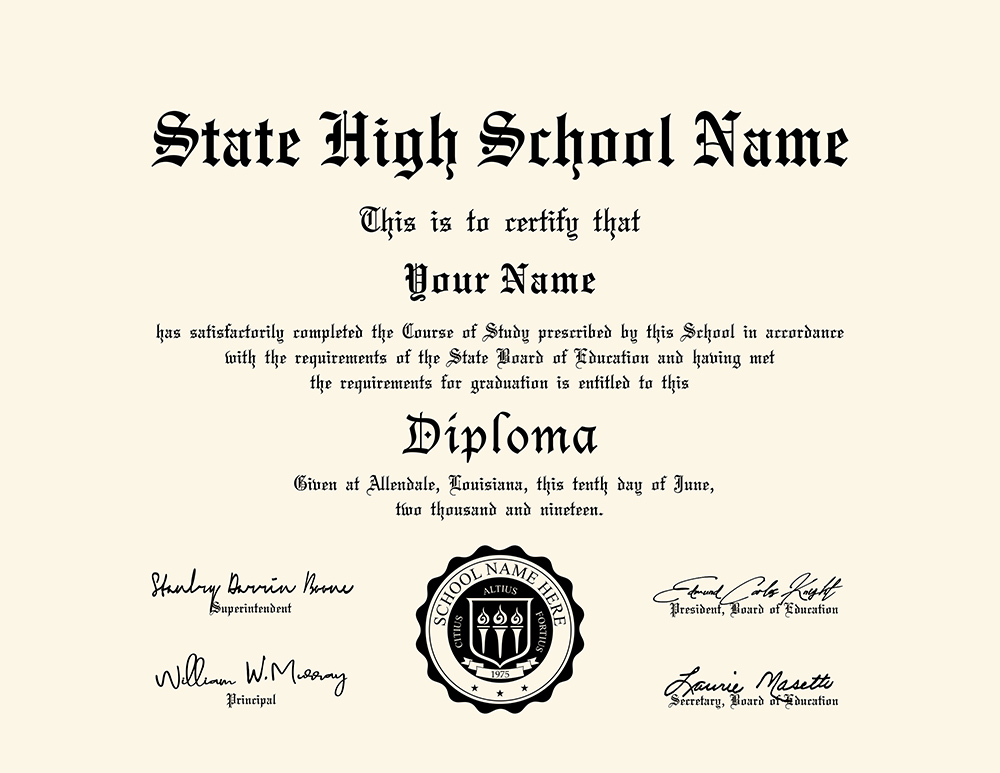 us high school diploma style 6